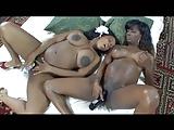 Lésbicas negras grávidas brincando com consolos